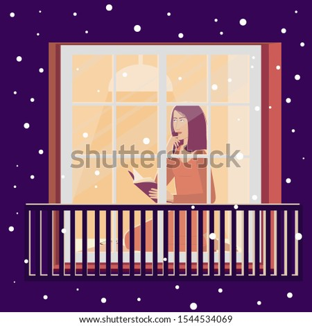 Girl window making plans. Creative people. Vector design. Pretty lady. Pretty young girl. Vector.
