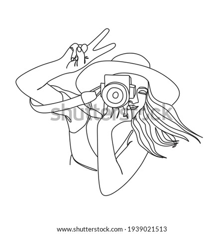 Girl with a camera vector line drawing. Fine One Line Vector Art Drawing, Modern GalleryWall, Abstract Wall Art Print Set, Woman Silhouette Botanical theme for print.Modern continuous line art.