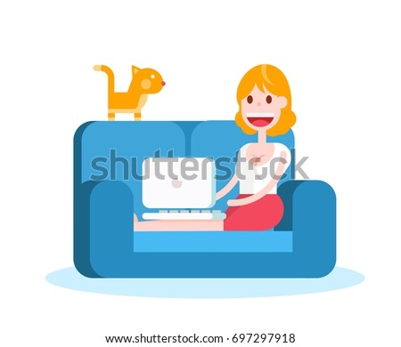 girl with a laptop on a sofa on