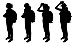Girl with a large backpack on back. Tourist with binocular. Woman looks through binoculars. Hiking. Ornithologist. Side view, profile. Four black female silhouettes are isolated on a white background.