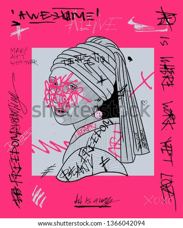 Girl with a Pearl Earring. Creative modern pink calligraphy poster. T-Shirt Design & Printing, clothes, bags, posters, invitations, cards, leaflets etc. Vector illustration hand drawn.