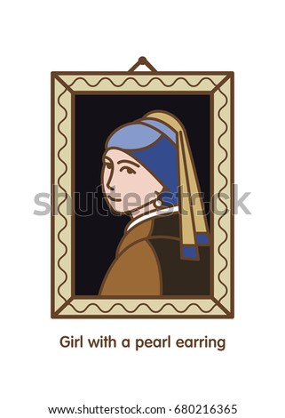 Girl with a pearl earring. Painting by the artist Vermeer. Icon vector.