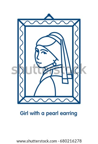 Girl with a pearl earring. Painting by the artist Vermeer. Icon vector line.