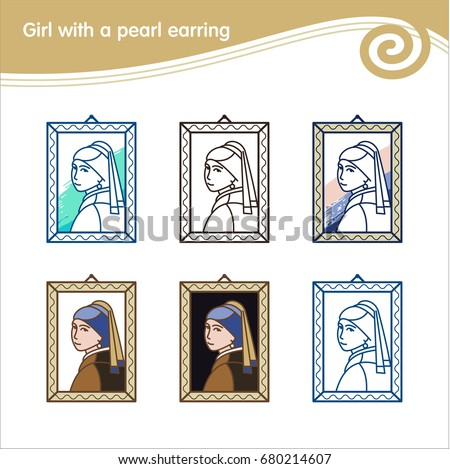 Girl with a pearl earring. Painting by the artist Vermeer. Set of vector icons.
