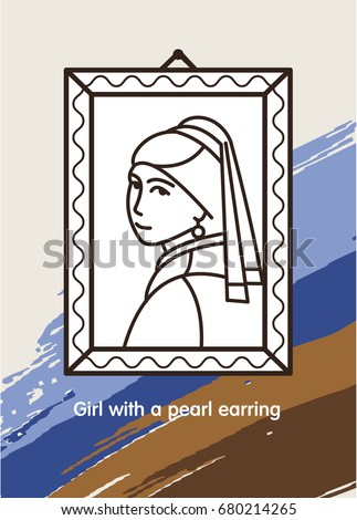 Girl with a pearl earring. The famous painting of Vermeer. Icon vector.