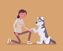 Girl with a pet dog friend. Happy girl teaching cute puppy giving paw shaking hand, human and animal friendship for comfort and support, playful life companion. Vector flat style cartoon illustration