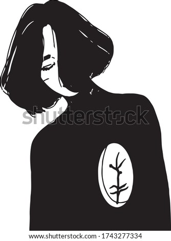 girl with a plant instead of a