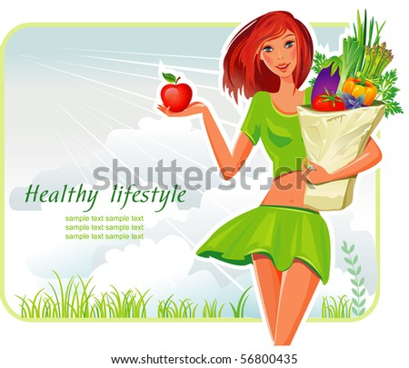 Girl with a shopping bag filled with vegetables