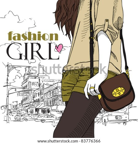 Girl with bag on a city-background. Vector illustrator. Place for your text.