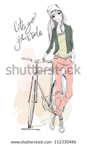 girl with bike