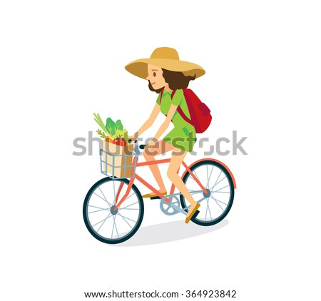 girl with bike goes for grocery