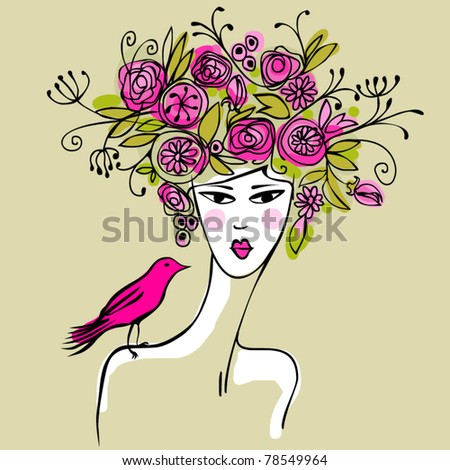 girl with bird and hair full of flowers