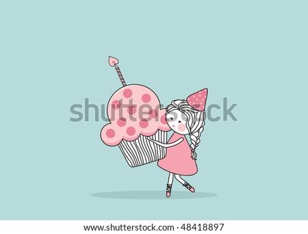 girl with birthday cupcake