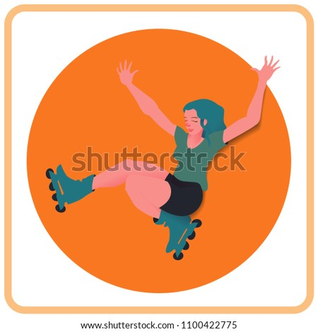 girl with blue hair on roller