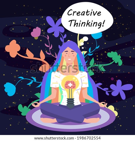 Girl with bulb, idea. Creative Thinking Yoga girl. Solution to a problem. Positive thinking, creative idea thought process. Vector illustration cartoon flat banner poster