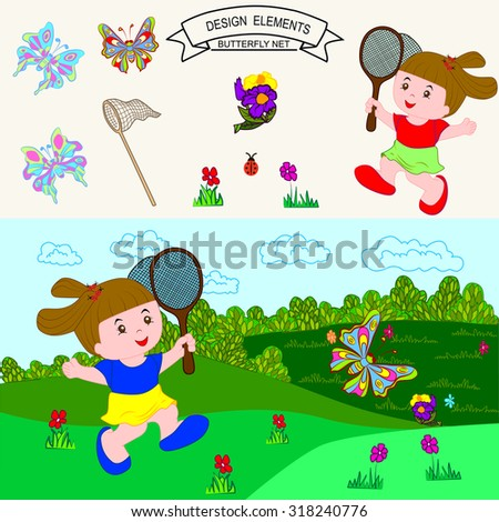 girl with butterfly net having