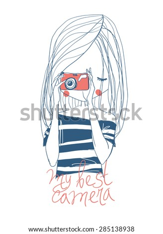 girl with camera and lettering