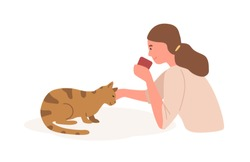 Girl with cat flat vector illustration. Animal care, playing with cat. Home leisure, recreation, relaxation, stress relief concept. Young female petting domestic kitten cartoon character.