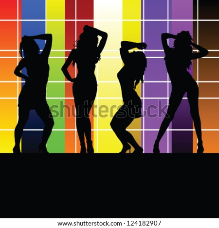 girl with color wall vector illustration