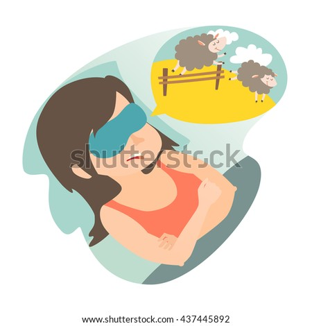 girl with counting sheep