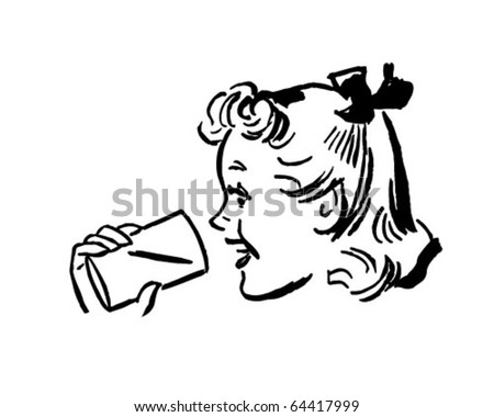 Girl With Cup - Retro Clipart Illustration