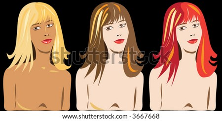 girl with different hair color - stock vector