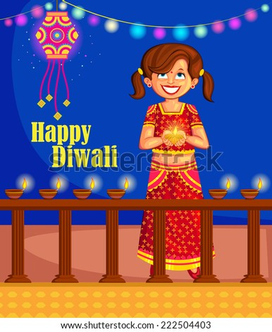 Girl with diya celebrating Diwali in vector