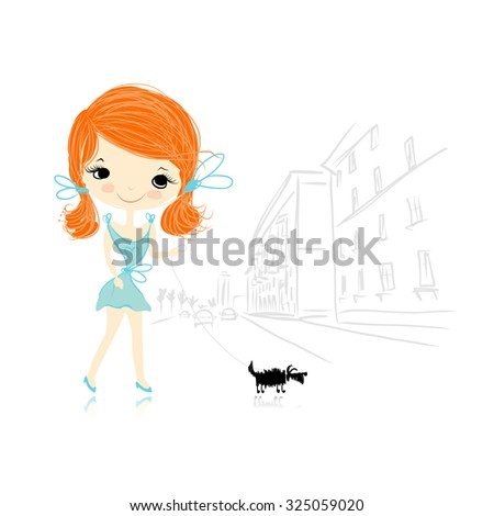 girl with dog on street  sketch