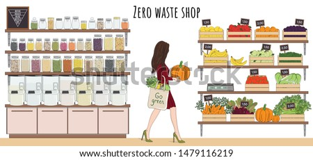 Girl with eco bag buy vegetables, fruits and bulk food. Local marker, grocery store, zero waste shop. Dispenser for bulk products without packaging. No plastic. Hand drawn vector illustration.