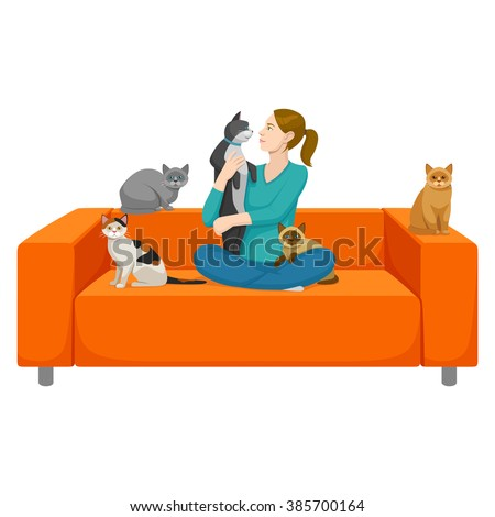 girl with five cats