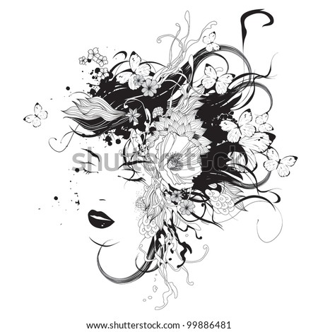 Girl with flowers and butterflies black and white vector illustration