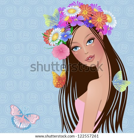 girl with flowers and butterflies on her head - stock vector