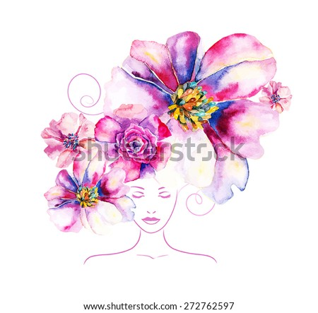 girl with flowers and pattern