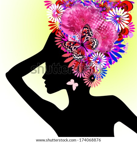 Girl with flowers on her head . Vector