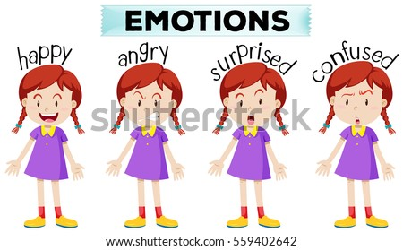 Girl with four different emotions illustration