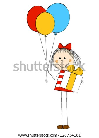 Girl with gift and balloons