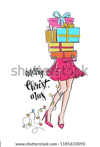 Girl with gift boxes in hands. Vector illustration