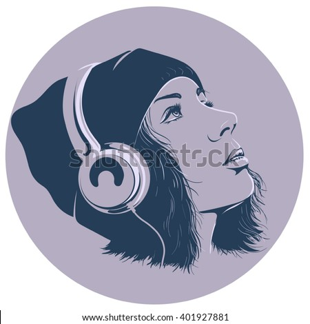 girl with headphones in a circle