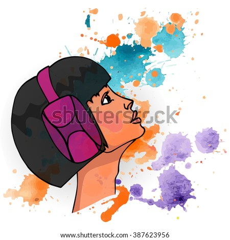 girl with headphones  portrait