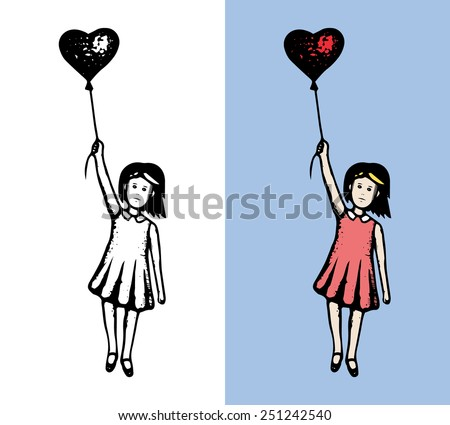 girl with heart flying hand