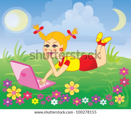 Girl with laptop lying on meadow