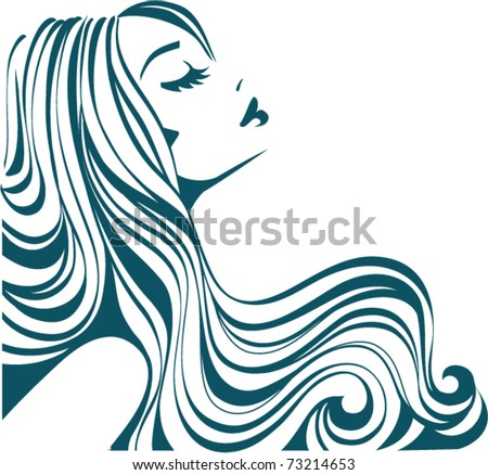 Girl with long hair - stock vector