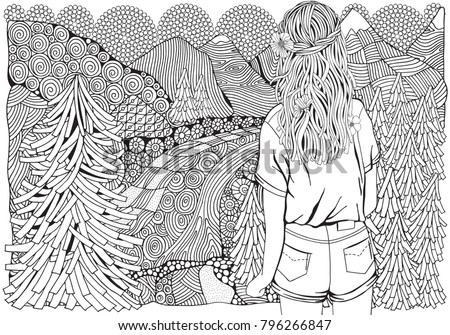 Girl with long hair in the forest.  Fir trees, river and mountain views. Eco theme. Pattern for coloring book. Hand-drawn, ethnic, retro, doodle, vector, zentangle vector.