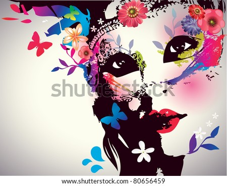 Stock Photo Girl with mask/Vector illustration