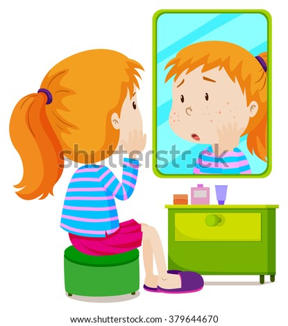 Girl with measels looking at mirror illustration