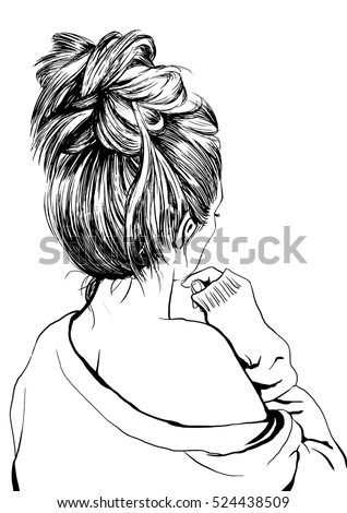 vector images illustrations and cliparts girl with messy bun