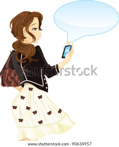 girl with mobile phone and text