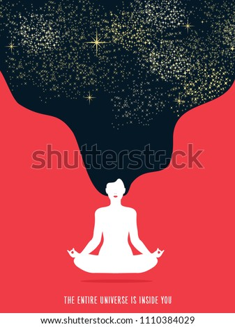 Girl with night hair in gyan mudra yoga lotus pose exercise. Concept illustration of universe connection and healthy lifestyle. EPS10 vector.