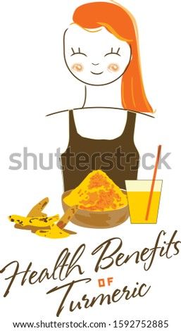Girl with orange hair. Smoothie turmeric. Healthy lifestyle. Healthy food.