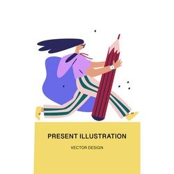 Girl with Pencil. Creativity and innovation idea concept. Cartoon flat vector illustration.